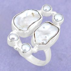 925 sterling silver 13.45cts natural white biwa pearl pearl ring size 8 p15971