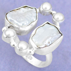 12.64cts natural white biwa pearl pearl 925 sterling silver ring size 7.5 p15978
