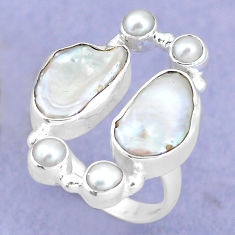 925 sterling silver 12.40cts natural white biwa pearl pearl ring size 7.5 p15980
