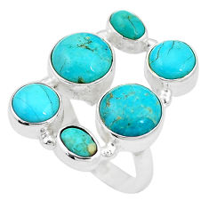 925 sterling silver 13.84cts green arizona mohave turquoise ring size 7 p15986