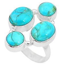 925 sterling silver 10.37cts green arizona mohave turquoise ring size 7.5 p15990