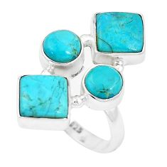 10.64cts green arizona mohave turquoise 925 sterling silver ring size 7 p15993