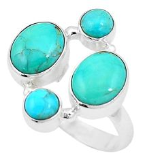 9.03cts green arizona mohave turquoise 925 sterling silver ring size 7.5 p15995