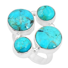 12.04cts green arizona mohave turquoise 925 sterling silver ring size 7 p15998