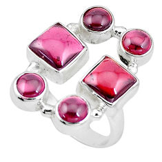 925 sterling silver 12.30cts natural red garnet ring jewelry size 7.5 p16020