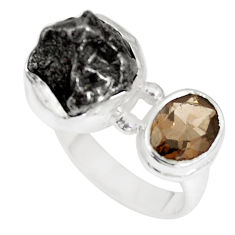 12.85cts natural campo del cielo smoky topaz 925 silver ring size 6.5 p16021