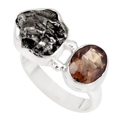 12.40cts natural campo del cielo smoky topaz 925 silver ring size 7 p16022