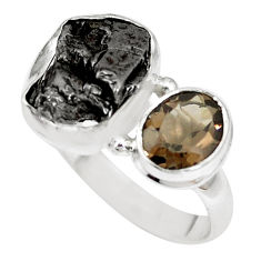12.64cts natural campo del cielo smoky topaz 925 silver ring size 8 p16033