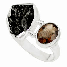 14.87cts natural campo del cielo smoky topaz 925 silver ring size 8.5 p16042