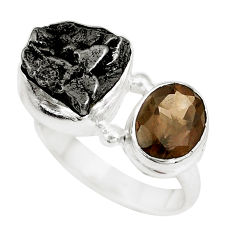 12.40cts natural campo del cielo smoky topaz 925 silver ring size 7 p16053