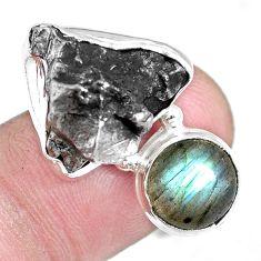 18.04cts natural campo del cielo labradorite 925 silver ring size 7.5 p16054