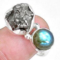 12.64cts natural campo del cielo labradorite 925 silver ring size 9 p16058