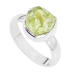 5.11cts natural green apatite rough 925 silver solitaire ring size 6.5 p16585