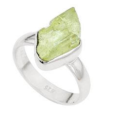 5.10cts natural green apatite rough 925 silver solitaire ring size 6.5 p16590