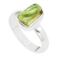 4.58cts natural green apatite rough 925 silver solitaire ring size 7.5 p16593