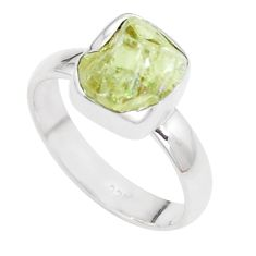 925 silver 4.82cts natural green apatite rough solitaire ring size 6.5 p16594
