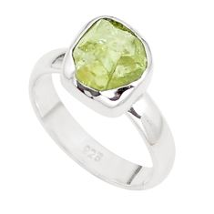 4.38cts natural green apatite rough 925 silver solitaire ring size 6 p16595