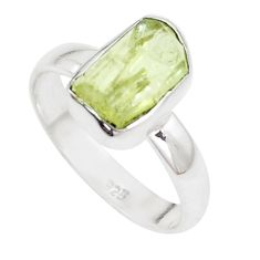 4.64cts natural green apatite rough 925 silver solitaire ring size 7.5 p16600
