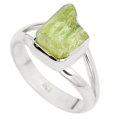 4.82cts natural green apatite rough 925 silver solitaire ring size 7.5 p16601