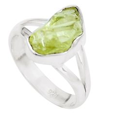 4.43cts natural green apatite rough 925 silver solitaire ring size 6.5 p16603