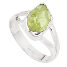 925 silver 4.67cts natural green apatite rough solitaire ring size 7 p16604