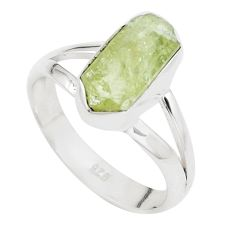 4.43cts natural green apatite rough 925 silver solitaire ring size 7.5 p16606