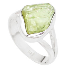 925 silver 5.54cts natural green apatite rough solitaire ring size 7.5 p16609