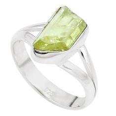 4.82cts natural green apatite rough 925 silver solitaire ring size 7.5 p16612