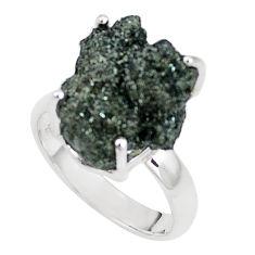 Natural green seraphinite in quartz 925 silver solitaire ring size 7.5 p16662