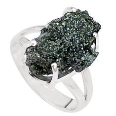 925 silver natural green seraphinite in quartz solitaire ring size 6.5 p16664
