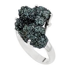 9.86cts natural green seraphinite in quartz silver solitaire ring size 8 p16665