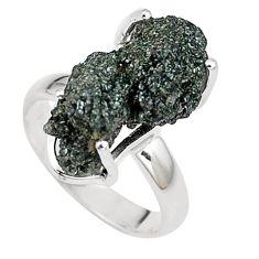 Natural green seraphinite in quartz 925 silver solitaire ring size 6.5 p16666