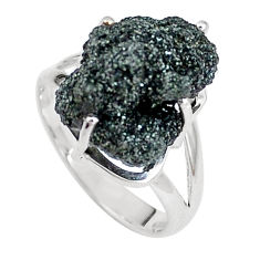 10.24cts natural green seraphinite in quartz silver solitaire ring size 8 p16668