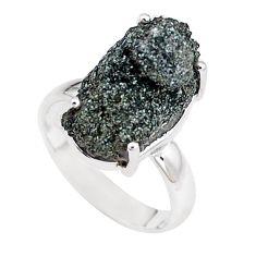 925 silver natural green seraphinite in quartz solitaire ring size 6.5 p16669
