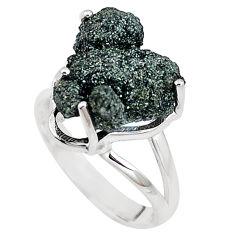 Natural green seraphinite in quartz 925 silver solitaire ring size 8 p16671