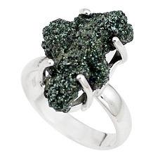 Natural green seraphinite in quartz 925 silver solitaire ring size 6.5 p16672