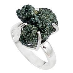 925 silver natural green seraphinite in quartz solitaire ring size 7.5 p16673