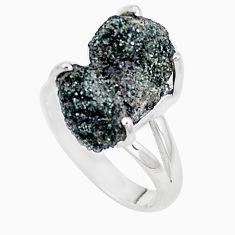 Natural green seraphinite in quartz 925 silver solitaire ring size 7 p16674