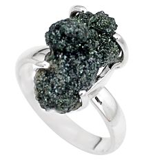 9.05cts natural green seraphinite in quartz 925 silver ring size 8 p16678