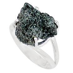Natural green seraphinite in quartz 925 silver solitaire ring size 8.5 p16681