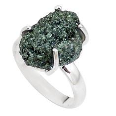 925 silver natural green seraphinite in quartz solitaire ring size 8 p16684