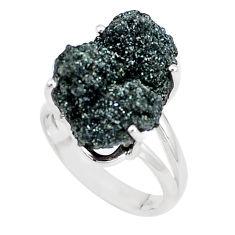 Natural green seraphinite in quartz 925 silver solitaire ring size 6.5 p16685