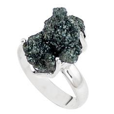 Natural green seraphinite in quartz 925 silver solitaire ring size 6 p16687