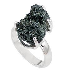 Natural green seraphinite in quartz 925 silver solitaire ring size 6.5 p16689
