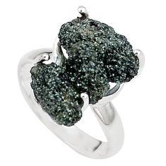 Natural green seraphinite in quartz 925 silver solitaire ring size 8 p16691