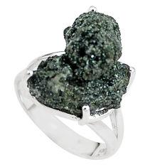 Natural green seraphinite in quartz 925 silver solitaire ring size 6.5 p16692