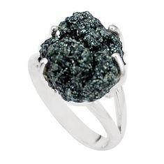 925 silver natural green seraphinite in quartz solitaire ring size 7.5 p16693
