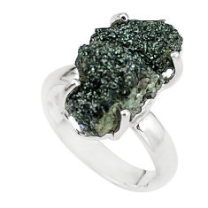 8.06cts natural green seraphinite in quartz silver solitaire ring size 6 p16694