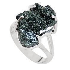 Natural green seraphinite in quartz 925 silver solitaire ring size 7 p16700