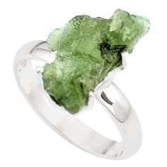 5.57cts natural green moldavite 925 silver solitaire ring size 8 p16807